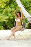 Womain in beach hammock Royalty Free Stock Images
