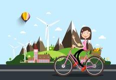 Womam na bicyklu z kasztelem i górami ilustracja wektor