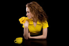 Womam in the yellow blouse Royalty Free Stock Images