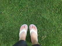 Woman's feet in white flip flop on grass. Woman's feet in white flip royalty free stock photography