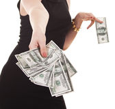 Woman�s hand with cash Stock Image