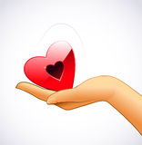 Woman's hand is holding red heart Royalty Free Stock Photos