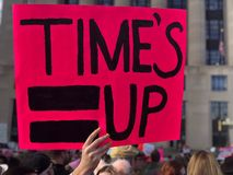 Time's Up sign from 2018 Women's March Me Too movement Royalty Free Stock Image
