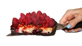 Woman's hand holds the piece of the raspberry cheesecake with the knife. royalty free stock photography