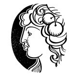Woman's profile - Demeter, ancient Greek goddess Stock Photography