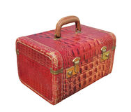 Woman�s retro red travel case isolated. Stock Images