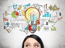 Woman& x27; голова s и красочный startup эскиз планирования Стоковые Фотографии RF