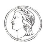 Woman& x27; профиль s с венком в монетке любит круг Иллюстрация нарисованная карандашем античный тип Стоковая Фотография RF