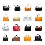 Woman' сумка s на белом разнообразии стоковая фотография