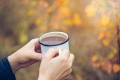 Woman& x27; 拿着杯子在秋季背景的热巧克力的s手 免版税库存图片