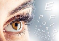 woman& x27特写镜头; s眼睛 美好的眼睛女性宏指令 新的未来派和技术概念 免版税库存照片