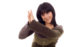 Woman. Beautiful young woman clapping hands white isolate Stock Photo
