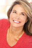 Woman. Happy smiling mature woman at home royalty free stock photos