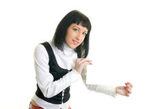 Woman. On a white background, shocked Royalty Free Stock Photos