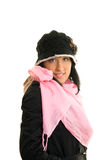 Woman. Girl in black coat poses Stock Photography
