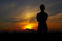 Woman. The evening coming sun for horizon Stock Images