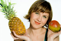 The woman. The young woman with fruit, on a white background Stock Images