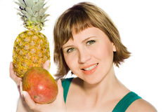 The woman. The young woman with fruit, on a white background Stock Image