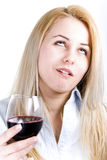 Woman. Young blonde girl drinking bad red wine Royalty Free Stock Image