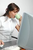 Woman. Drinks coffee Stock Photo