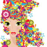Woman. With colorful hair , illustration background Stock Images