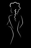 Woman. Picture of white silhouette of a girl on black background vector illustration