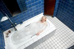Woman in 1920's Style Bathhouse Stock Image