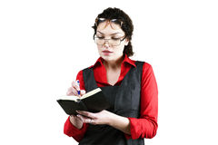 Woman with 2 glasses. Woman in red with2 glasses stock image