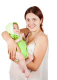 Woman with 2 month baby Stock Images