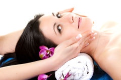 Woman 2 at SPA with Flower Royalty Free Stock Images