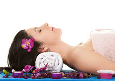 Woman 2 at SPA with Flower Stock Photo