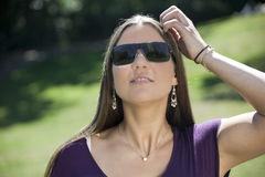 Woman. Young woman with sunglasses outside stock photo