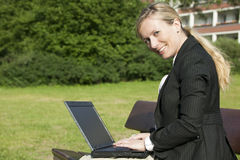 Woman. Young blond business woman working outside stock photos