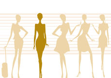 Woman. Illustration of five silhouettes of modern women posing Royalty Free Stock Photos