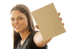 Woman. Young Female holding sign or board royalty free stock photography