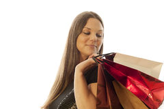 Woman. Young beautiful woman loves shopping royalty free stock image