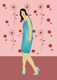 Woman. A illustration of a woman in a blue dress vector illustration