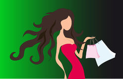 Woman. A Shopping sexy woman .Vector Royalty Free Stock Photos