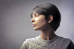 Woman. Profile of a young woman Stock Photos