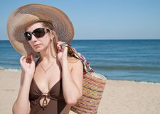 Woman. Attractive blond woman in the sea stock photography