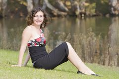 Woman. In park. Autmun in australia Royalty Free Stock Image