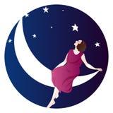 Woman. Sitting on the moon romantic illustration of 1920's stock illustration