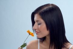 Woman. Portrait of young pretty woman with flowers stock photography