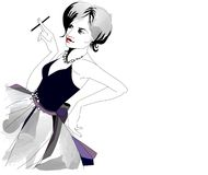 Woman. With a cigarette in an evening dress Stock Illustration