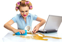Woman. Funny business woman cleaning desktop. Dirty workspace Royalty Free Stock Photography