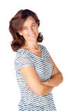Woman in 30s in top with stripes and jeans Stock Photo