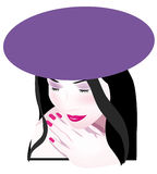 Woman. A vector, illustration drawing of a pretty woman, wearing a hat, and made up Royalty Free Stock Images