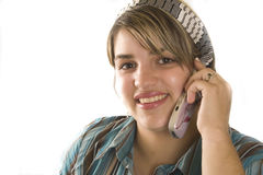 Woman. Portrait of a young attractive woman with mobil phone Stock Images