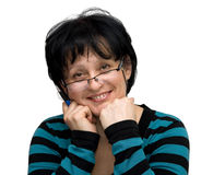 Woman. With glasses portrait isolated Royalty Free Stock Image