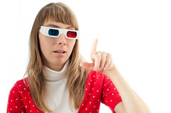 Woman in 3d cinema glasses Stock Photography